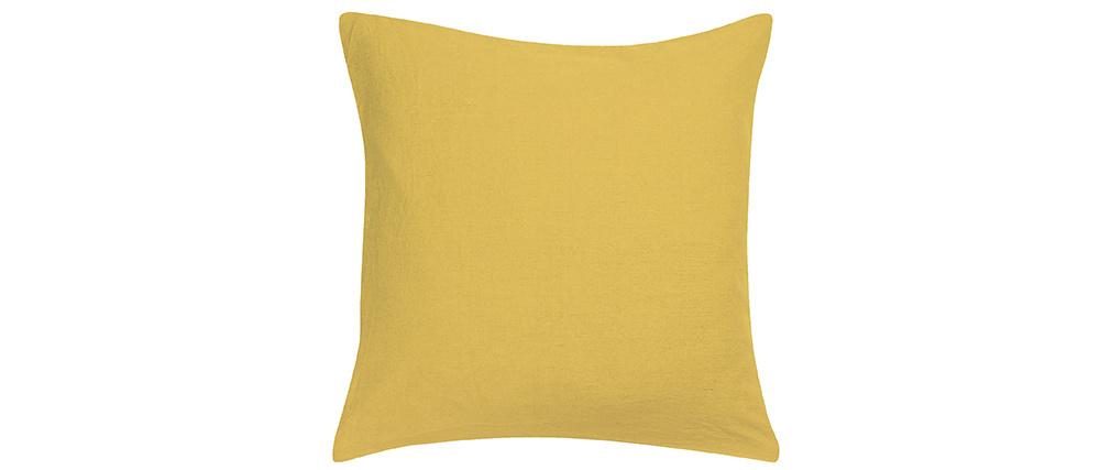 Coussin en lin jaune 45 x 45 cm LINEN