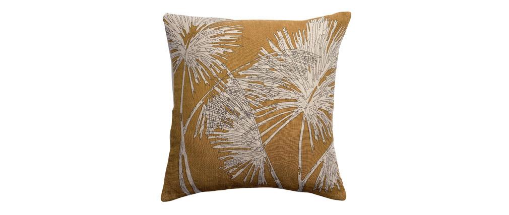 Coussin en lin jaune motif palmier 45 x 45 cm NATURA