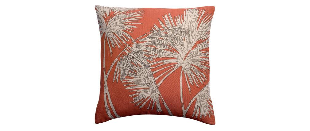 Coussin en lin terracotta motif palmier 45 x 45 cm NATURA