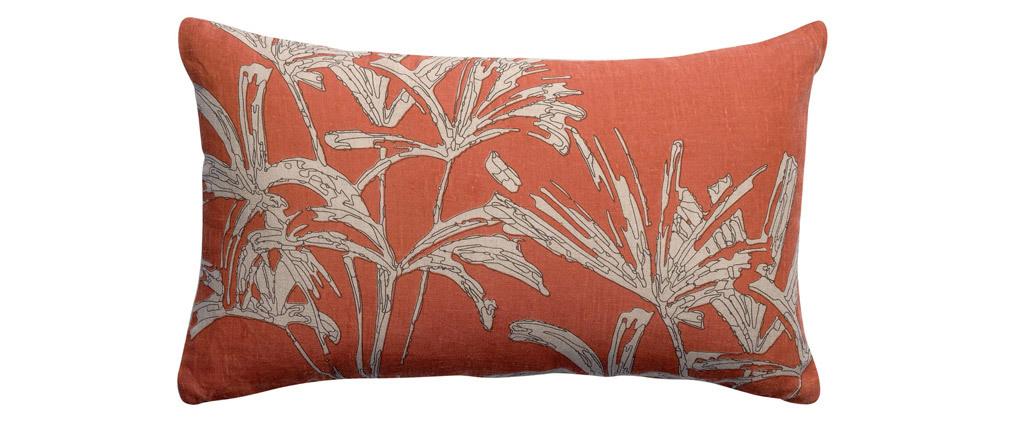 Coussin en lin terracotta motifs feuillages 50 x 30 cm NATURA