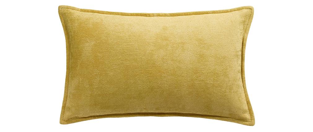 Coussin en velours jaune curry 30 x 50 cm ALOU