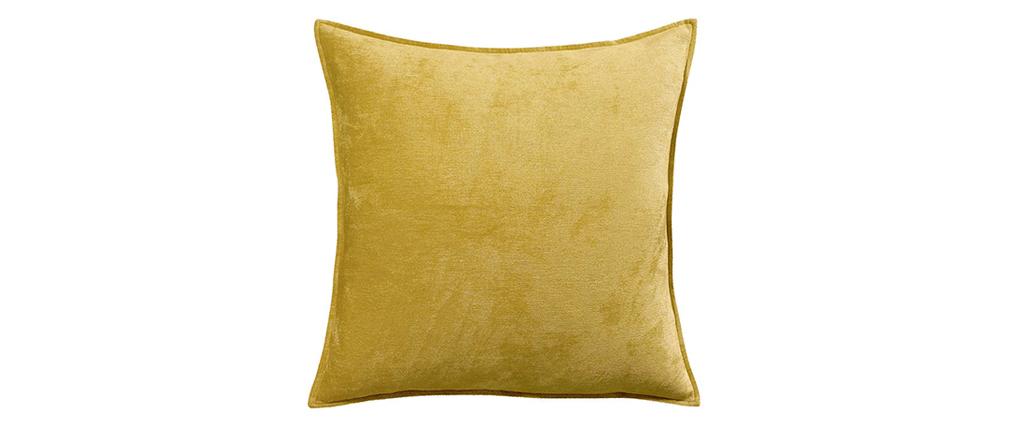 Coussin en velours jaune curry 60 x 60 cm ALOU