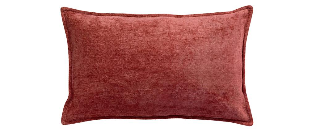 Coussin en velours rouge tomette 30 x 50 cm VELOR