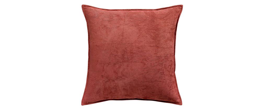 Coussin en velours rouge tomette 45 x 45 cm ALOU