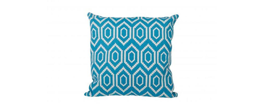 coussin graphique coton blanc et bleu 60x60 olmeque miliboo. Black Bedroom Furniture Sets. Home Design Ideas