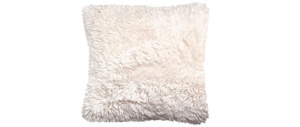 Coussin imitation fourrure écru 45 x 45 cm ALPIN