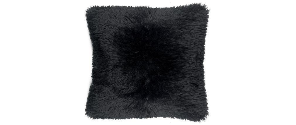 Coussin imitation fourrure noir 45 x 45 cm ALPIN
