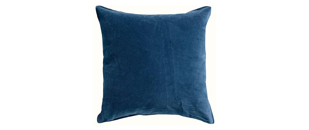 Coussin imprimé fleurs en velours bleu 45 x 45 cm FLUM