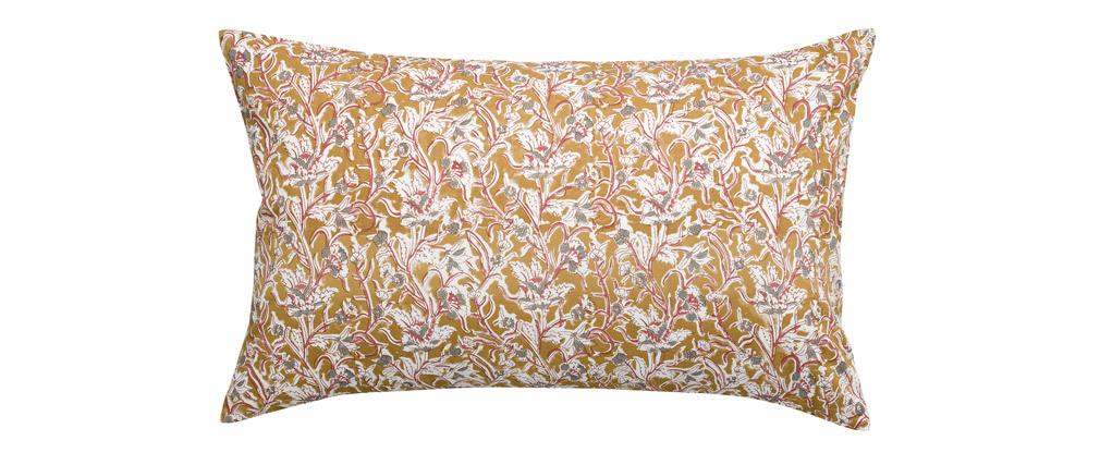 Coussin imprimé fleurs jaune 40 x 65 cm AQUARELLE