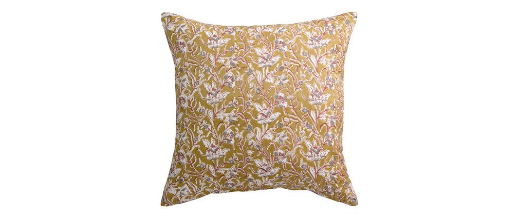 Coussin imprimé fleurs jaune 45 x 45 cm AQUARELLE