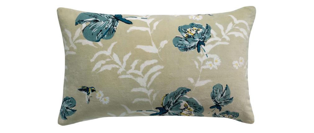 Coussin imprimé fleurs velours beige et vert 40 x 65 cm FIORI
