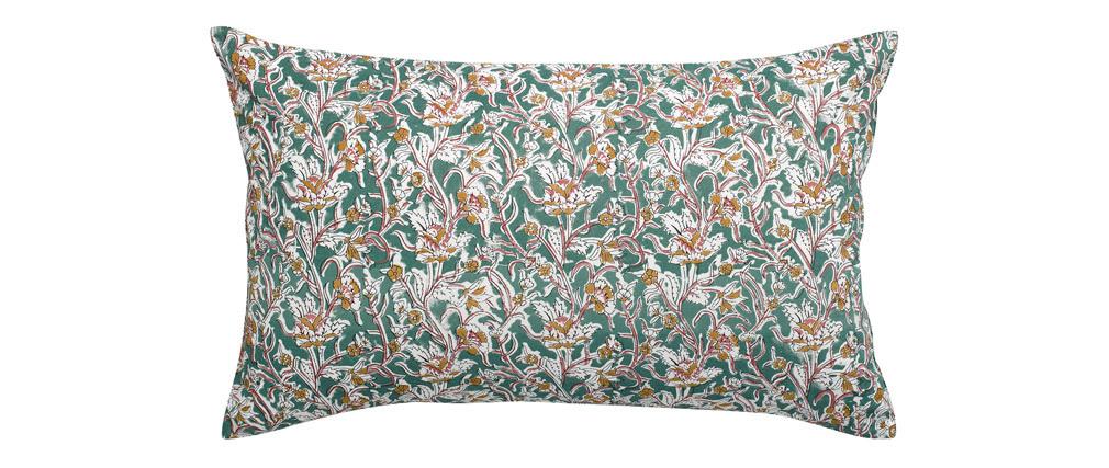 Coussin imprimé fleurs vert 40 x 65 cm AQUARELLE