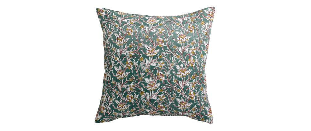Coussin imprimé fleurs vert 45 x 45 cm AQUARELLE