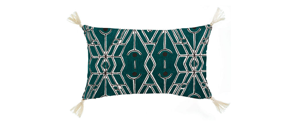 Coussin motif ethnique bleu 30 x 50 cm AUSA