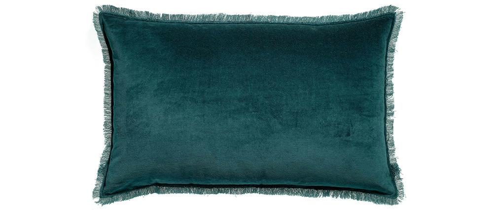 Coussin velours bleu paon 30 x 50 cm PESCA