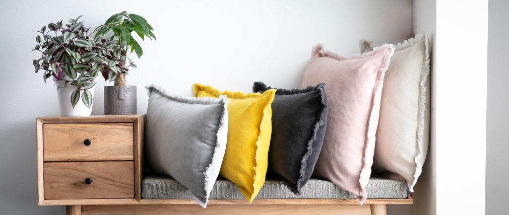 Coussin velours couleur gris ardoise 30 x 50 cm PESCA