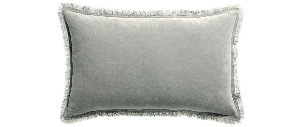 Coussin velours couleur gris perle 30 x 50 cm PESCA