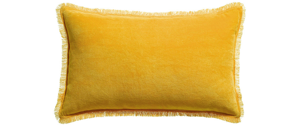 Coussin velours jaune curry 30 x 50 cm PESCA