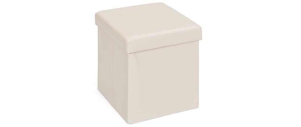 Cube de rangement pliable design pu beige boxy miliboo - Cube design rangement ...