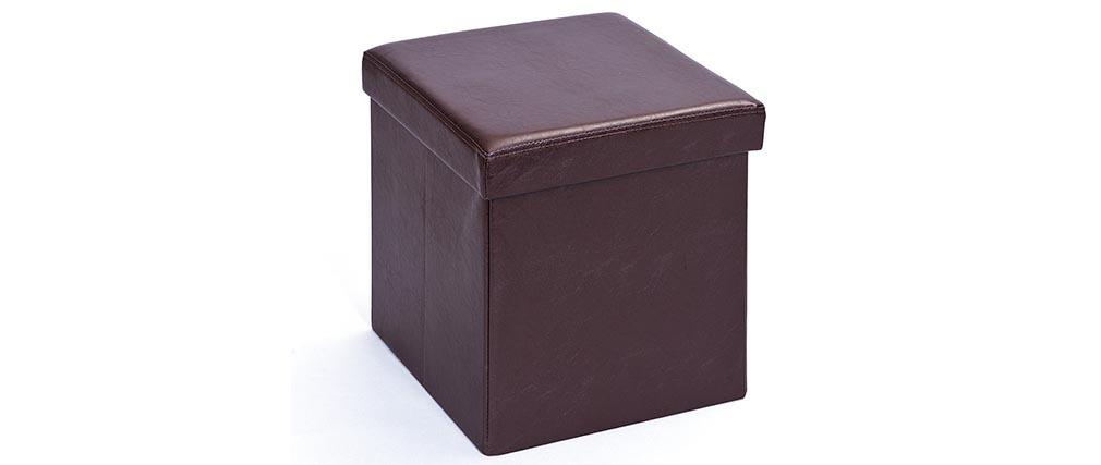 cube de rangement pliable design pu marron boxy miliboo. Black Bedroom Furniture Sets. Home Design Ideas