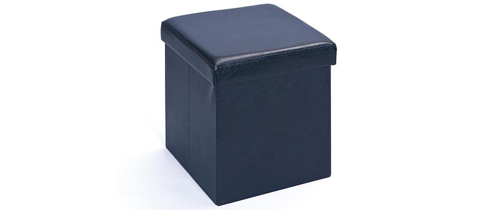 Cube de rangement pliable design pu noir boxy miliboo - Cube design rangement ...