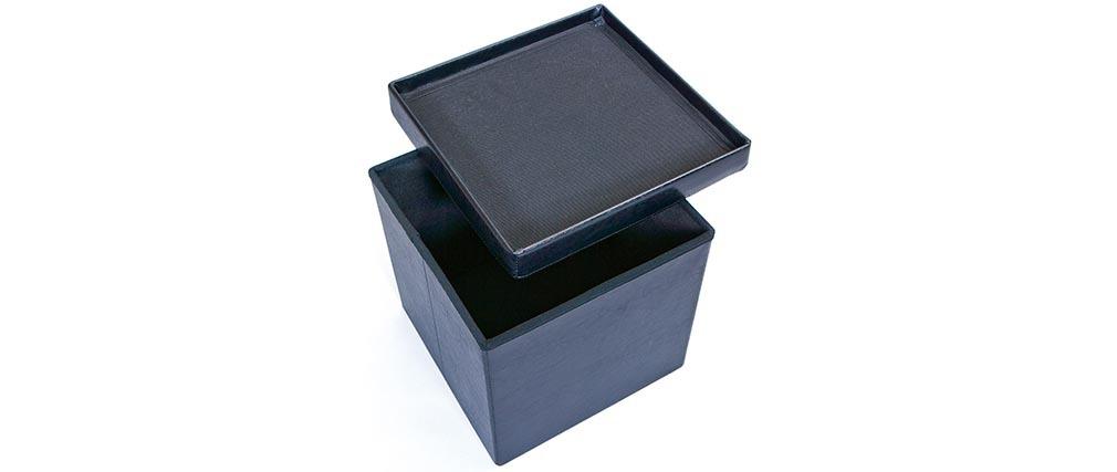 Cube de rangement pliable design pu noir boxy miliboo - Cube de rangement noir laque ...