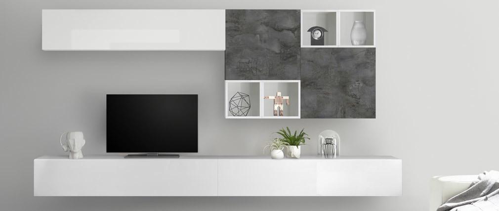 Élément mural carré gris finition métal oxydé ETERNEL