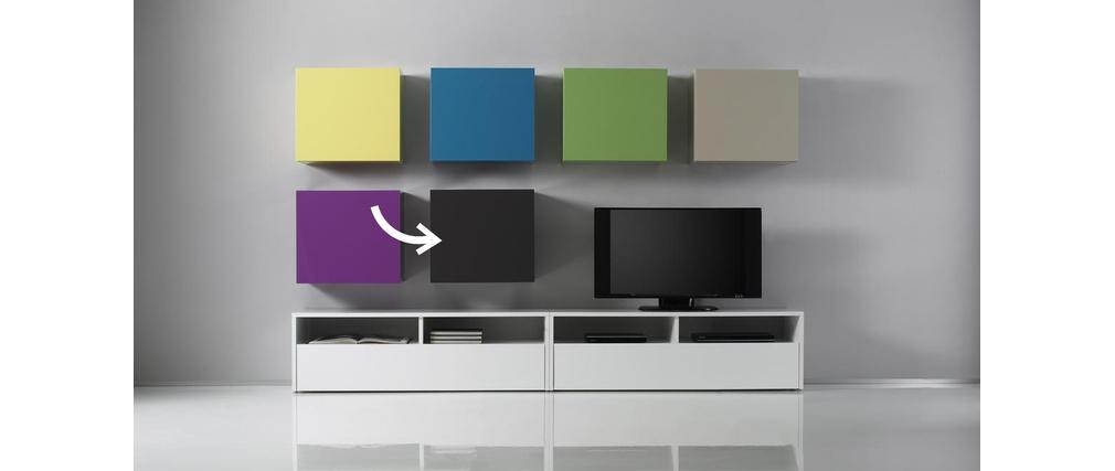 el ment mural colored carr laqu anthracite miliboo. Black Bedroom Furniture Sets. Home Design Ideas