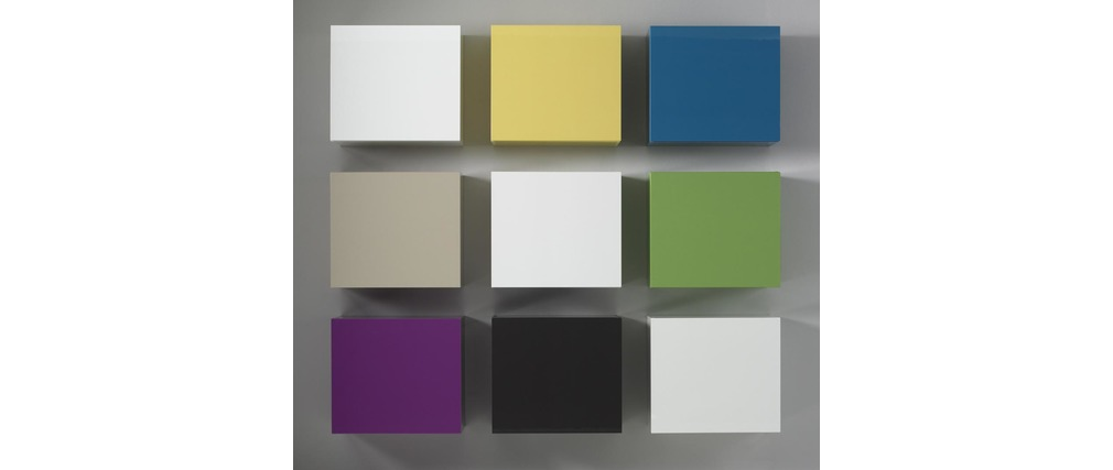 El ment mural colored carr laqu anthracite miliboo for Meuble mural cube