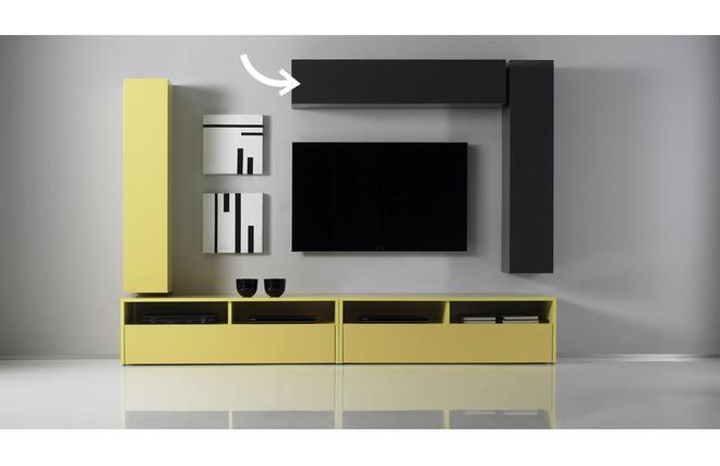 el ment mural tv colored horizontal ou vertical laqu anthracite miliboo. Black Bedroom Furniture Sets. Home Design Ideas