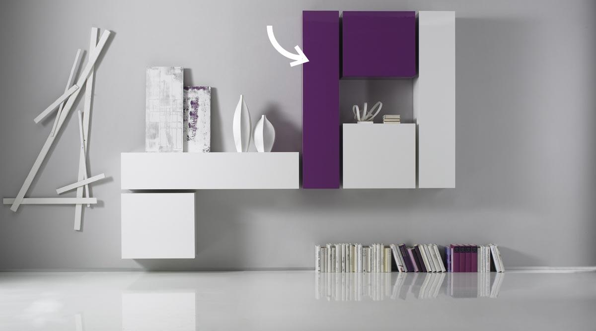 Elément mural TV COLORED horizontal ou vertical Laqué Lilas