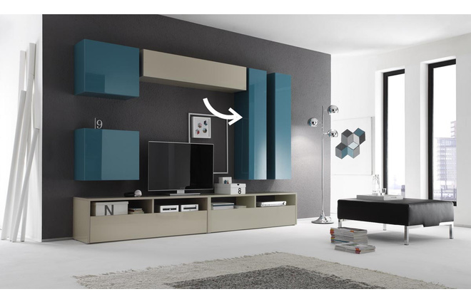 el ment mural tv colored horizontal ou vertical laqu turquoise miliboo. Black Bedroom Furniture Sets. Home Design Ideas