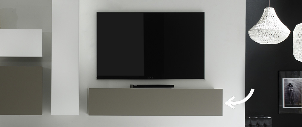 Élément mural TV design taupe mat horizontal COLORED V2