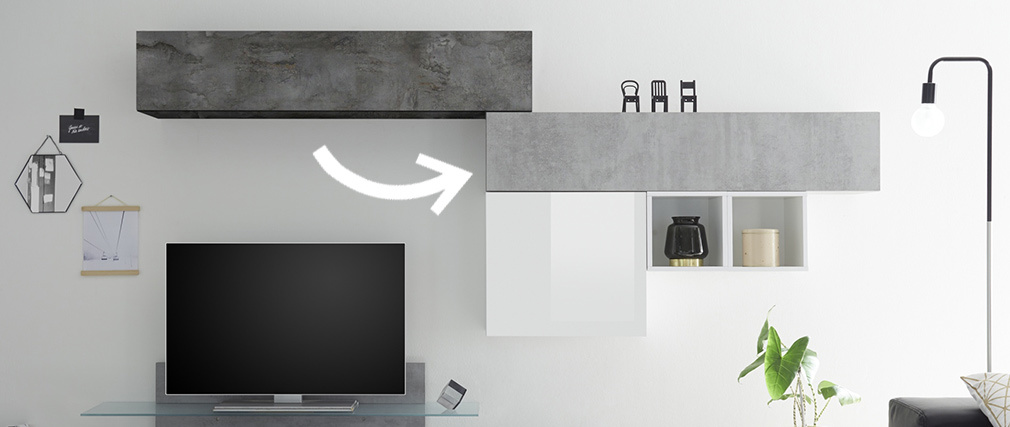 Élément mural TV horizontal finition béton ETERNEL