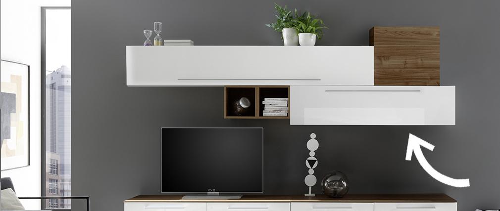 Élément mural TV horizontal laqué blanc brillant avec baguette ETERNEL