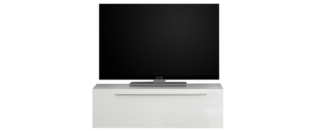Élément mural TV laqué blanc brillant avec baguette L95 cm ETERNEL