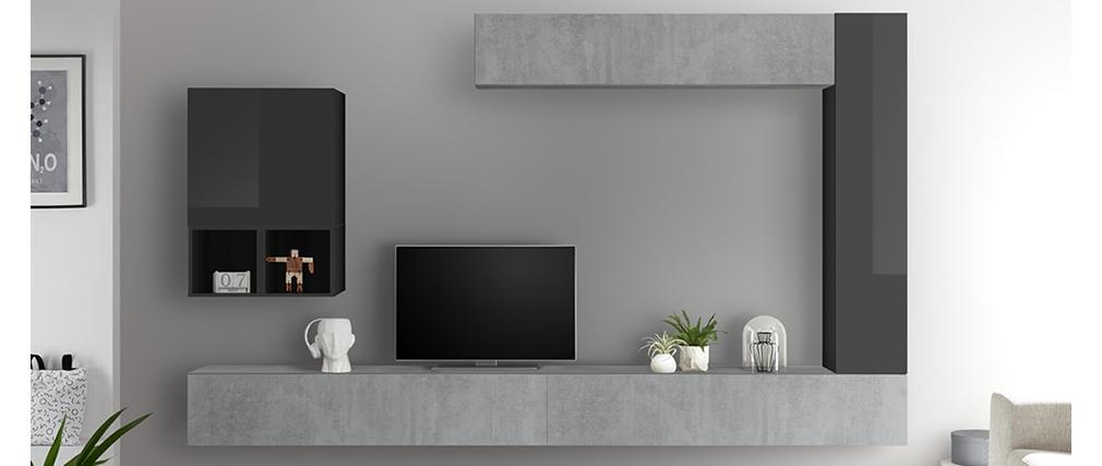 Élément mural TV vertical laqué gris ETERNEL