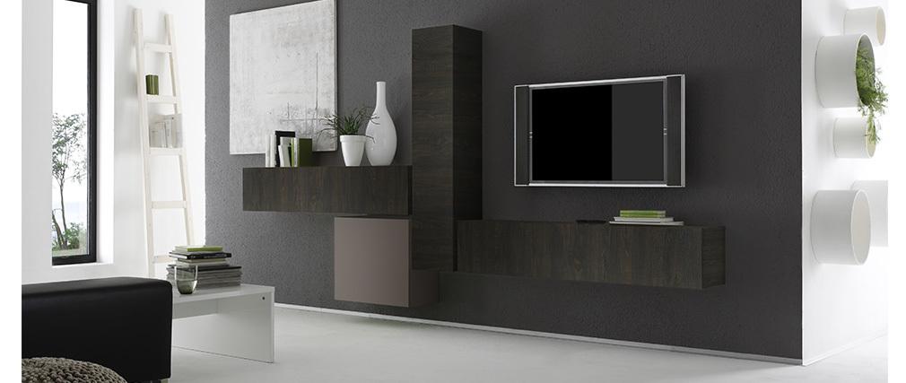 Élément mural TV wengé horizontal COLORED V2