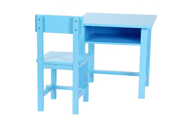 ensemble bureau enfant et chaise recre en bois coloris bleu miliboo. Black Bedroom Furniture Sets. Home Design Ideas
