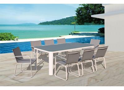 Ensemble de jardin en aluminium table et 8 fauteuils CORFOU