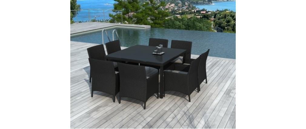 Ensemble de jardin table et chaises r sine tress e noir 8 for Ensemble table et chaise noir
