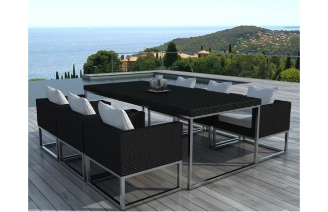 ensemble de jardin table et chaises r sine tress e noir punta cana miliboo. Black Bedroom Furniture Sets. Home Design Ideas