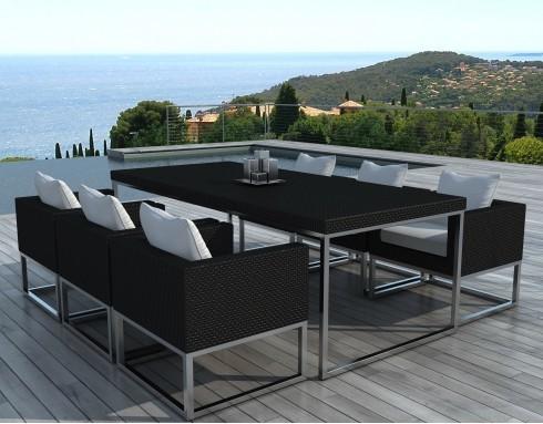 Ensemble de jardin table et chaises résine tressée noir PUNTA CANA
