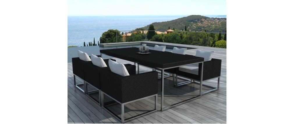 ensemble de jardin table et chaises r sine tress e noir. Black Bedroom Furniture Sets. Home Design Ideas