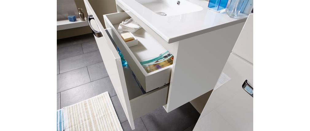 Ensemble de meubles de salle de bain meuble sous vasque vasque miroir et colonne laqu blanc - Meuble salle de bain blanc laque ...