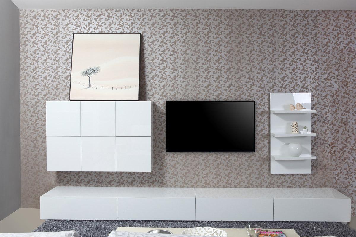 Ensemble mural tv design blanc brillant armadeon miliboo - Ensemble tv mural design ...