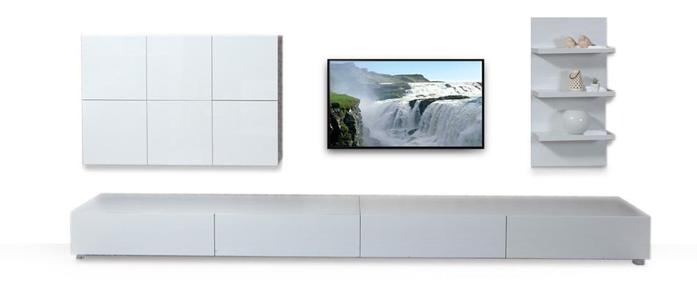Ensemble mural tv design blanc brillant armadeon miliboo - Ensemble mural design ...