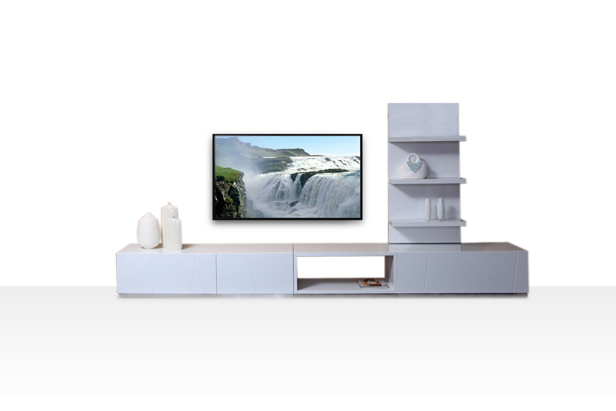 Ensemble tv mural design combo coloris blanc laqu for Ensemble tv mural
