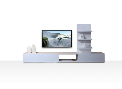 Ensemble mural TV design blanc brillant CRYPTON