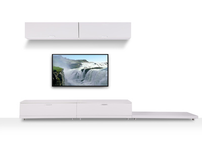Ensemble mural TV design blanc brillant ODEON